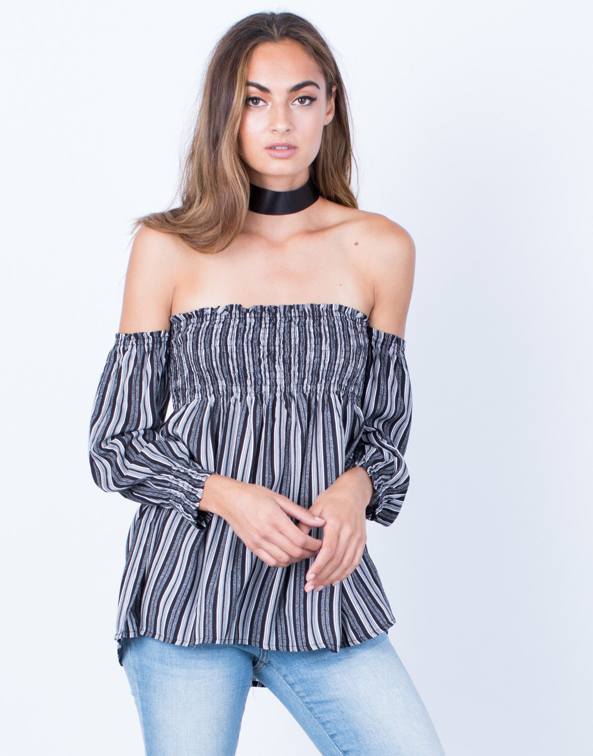 Front View of Flaunt it Off-the-Shoulder Blouse