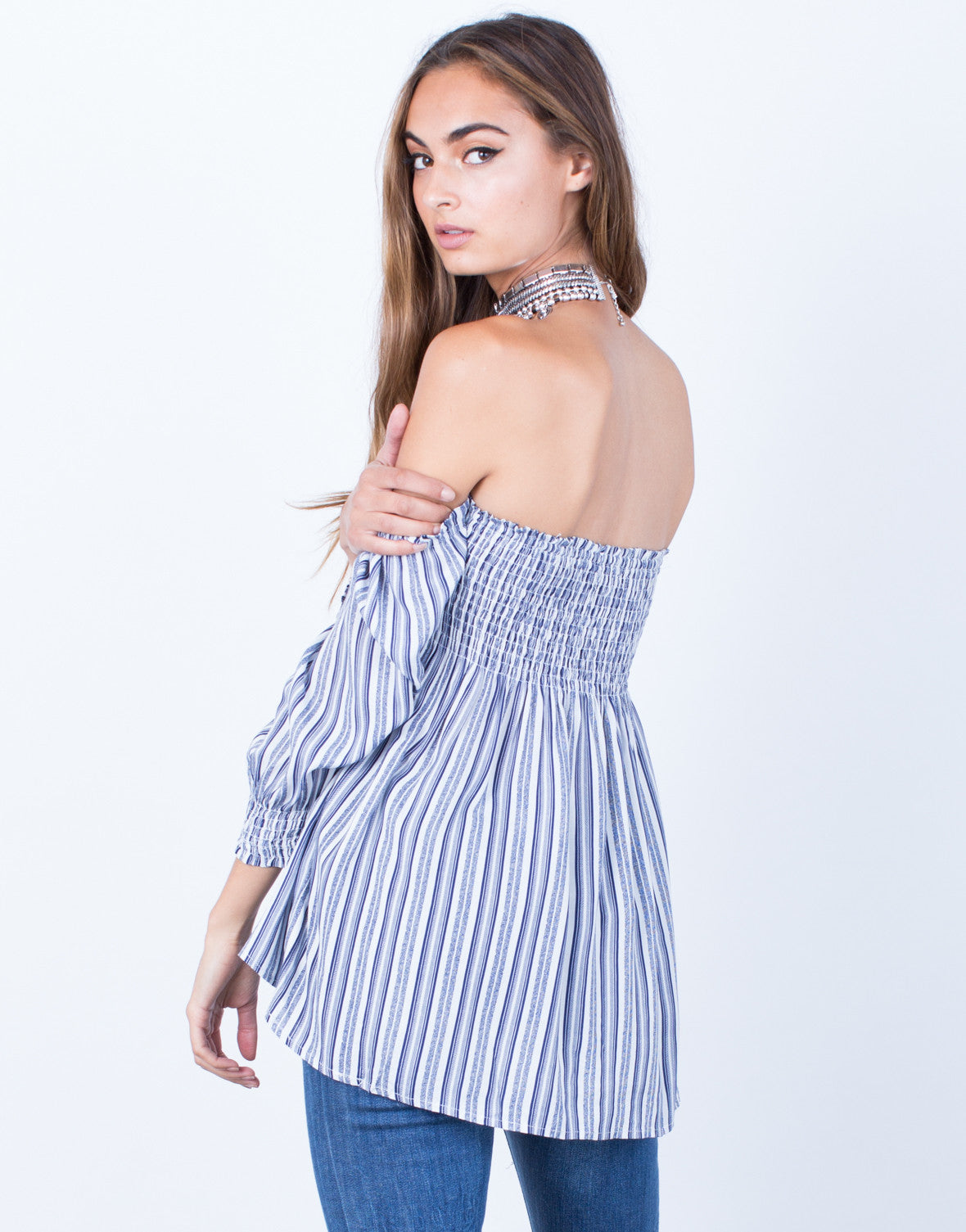 Back View of Flaunt it Off-the-Shoulder Blouse