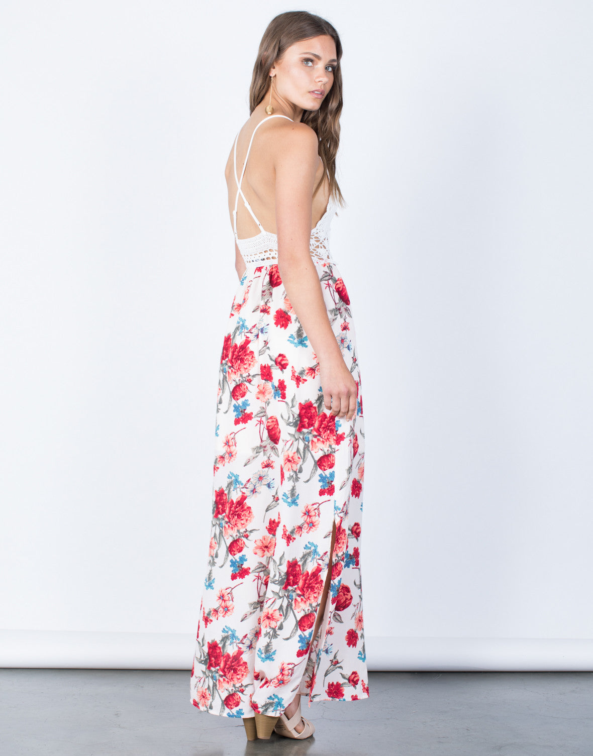 Back View of Floral Beauty Maxi Dress