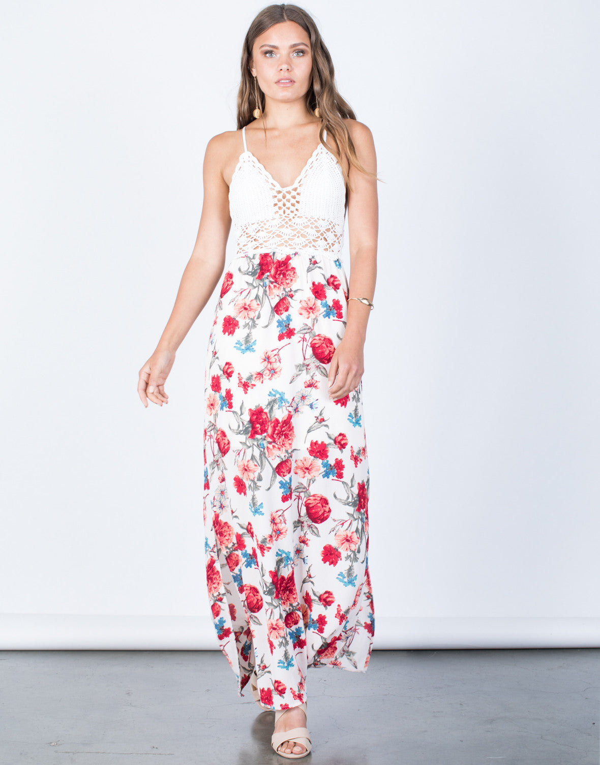 Front View of Floral Beauty Maxi Dress