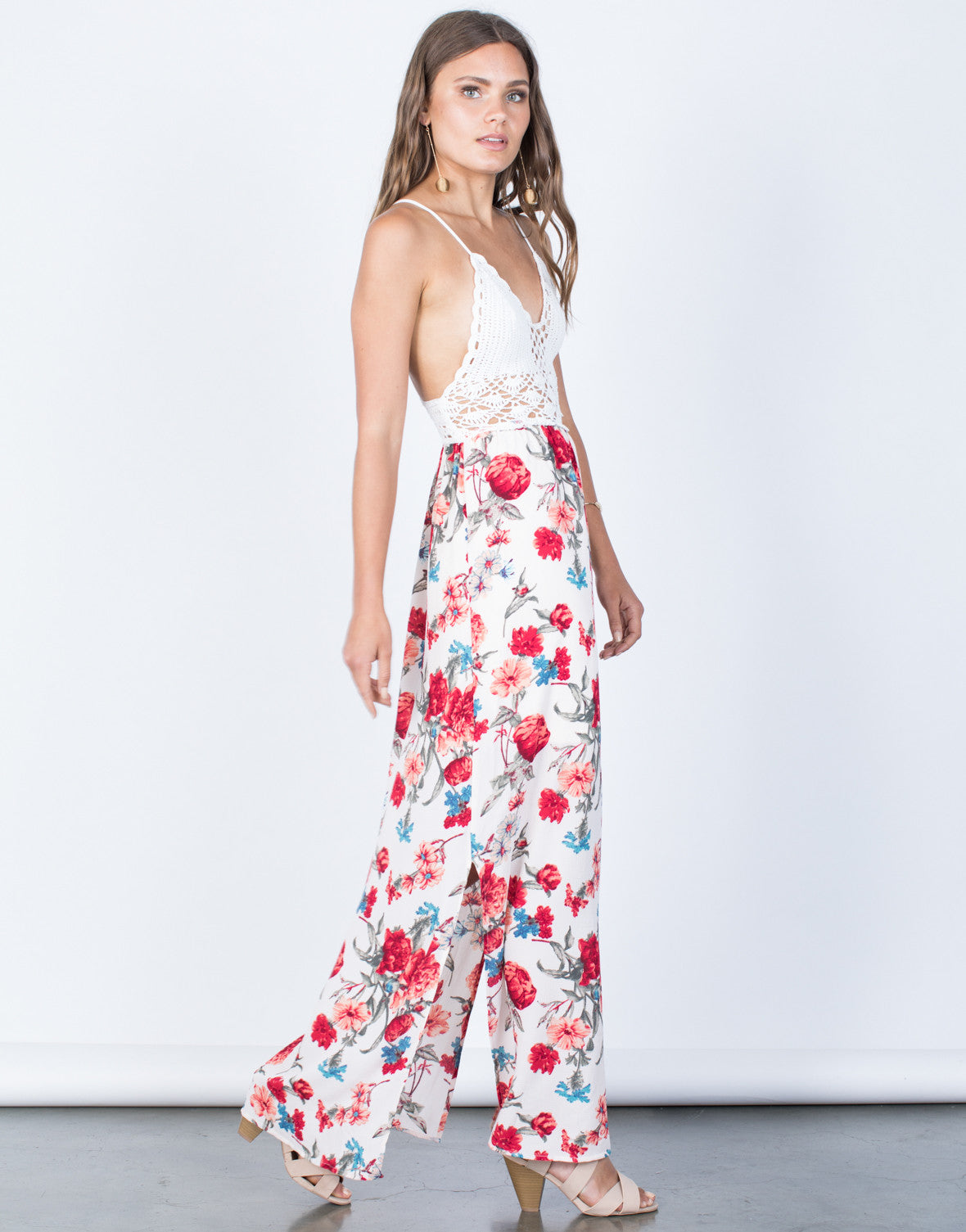 Side View of Floral Beauty Maxi Dress