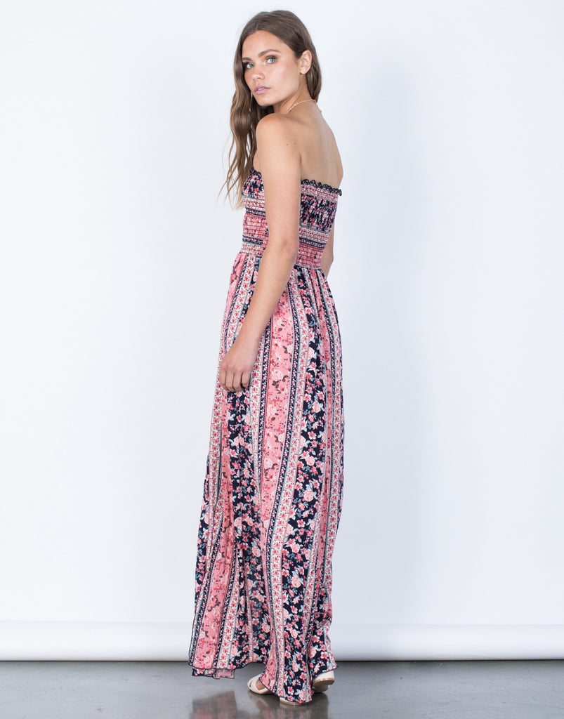 Back View of Floral Bouquet Maxi Dress