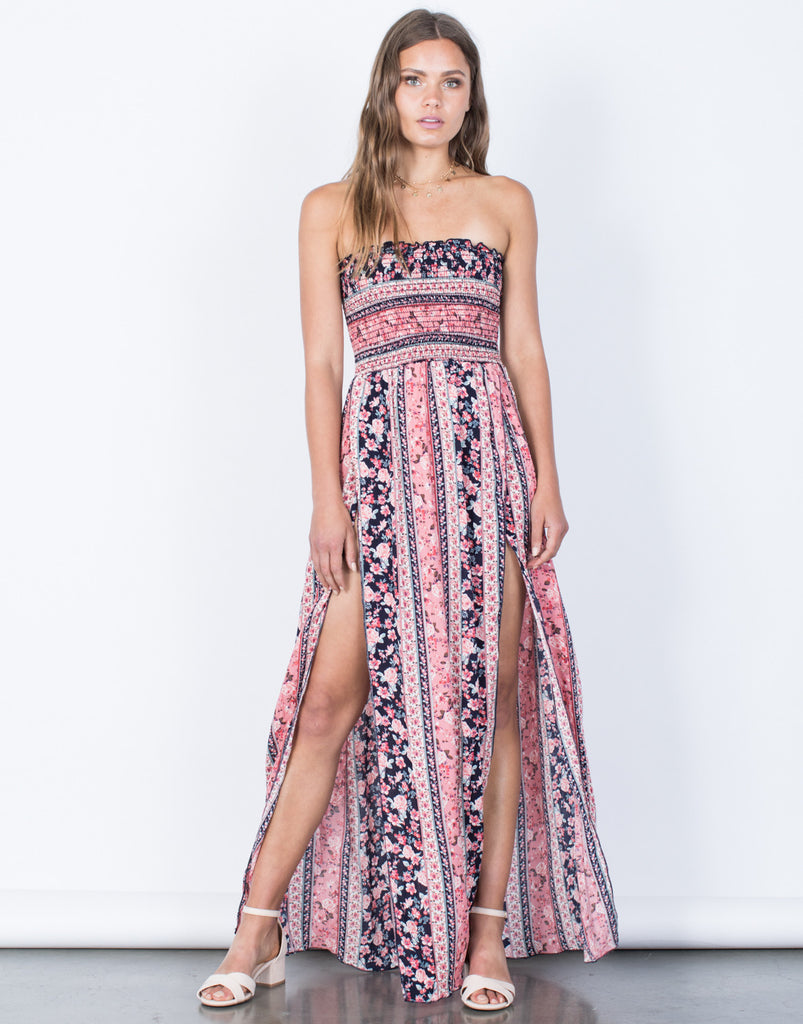 Front View of Floral Bouquet Maxi Dress