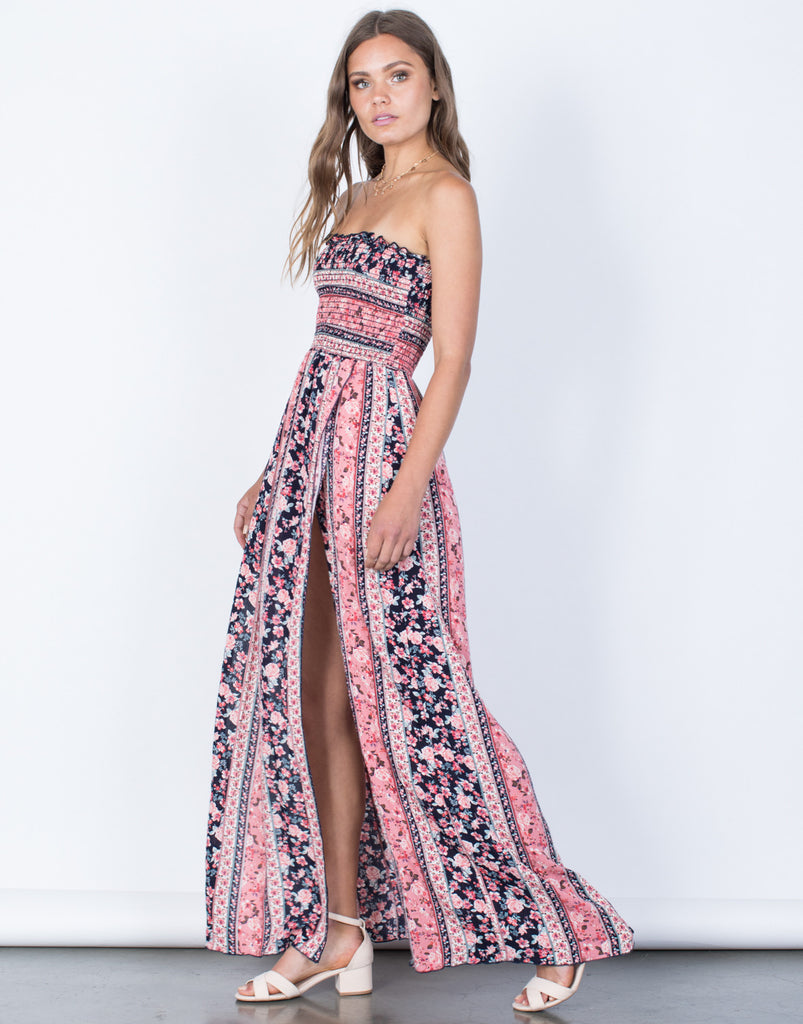 Side View of Floral Bouquet Maxi Dress