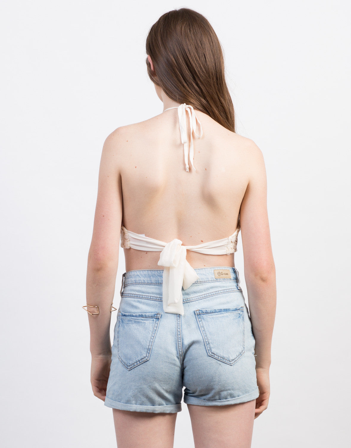 Back View of Floral Crochet Halter Top