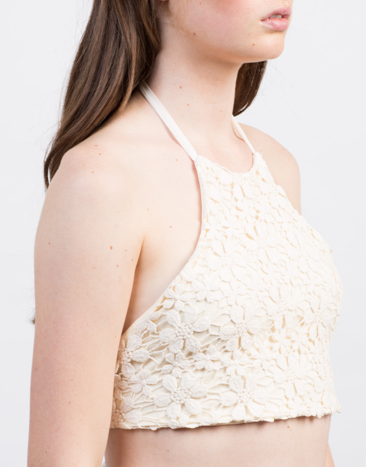 Detail of Floral Crochet Halter Top