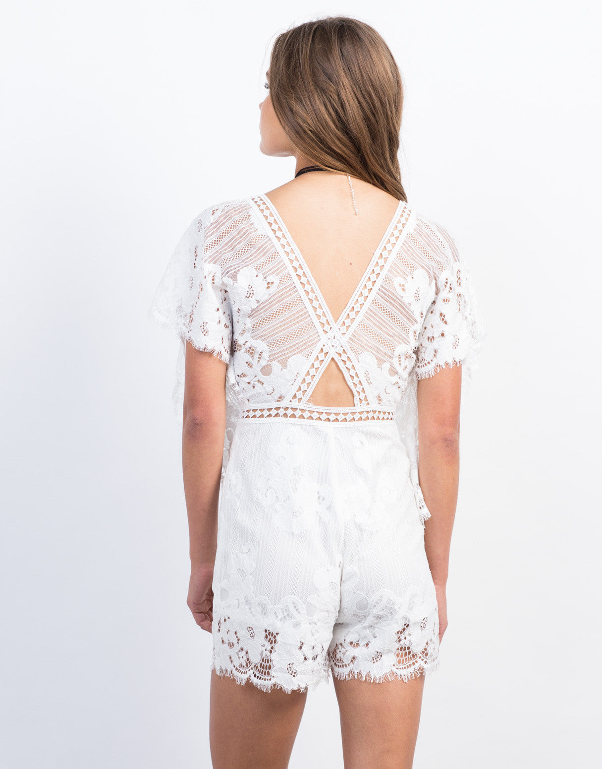 Back View of Floral Crochet Lace Romper