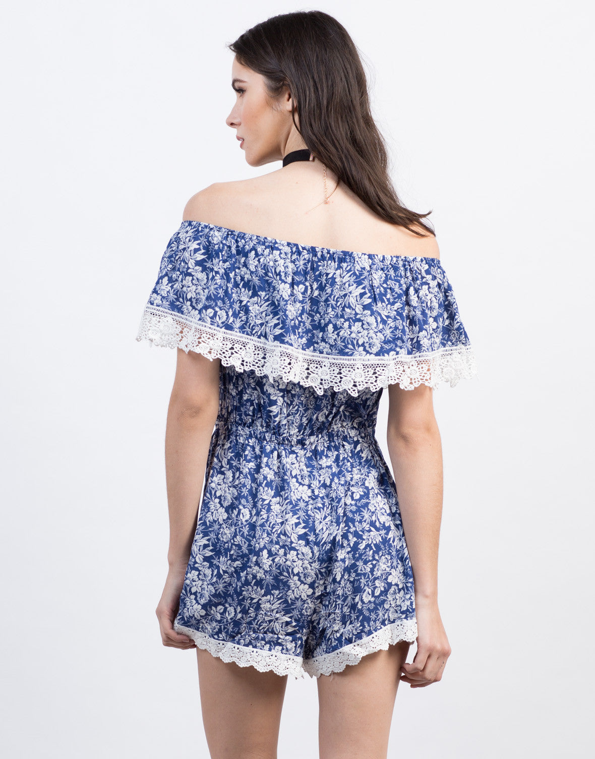 Back View of Floral Crochet Romper