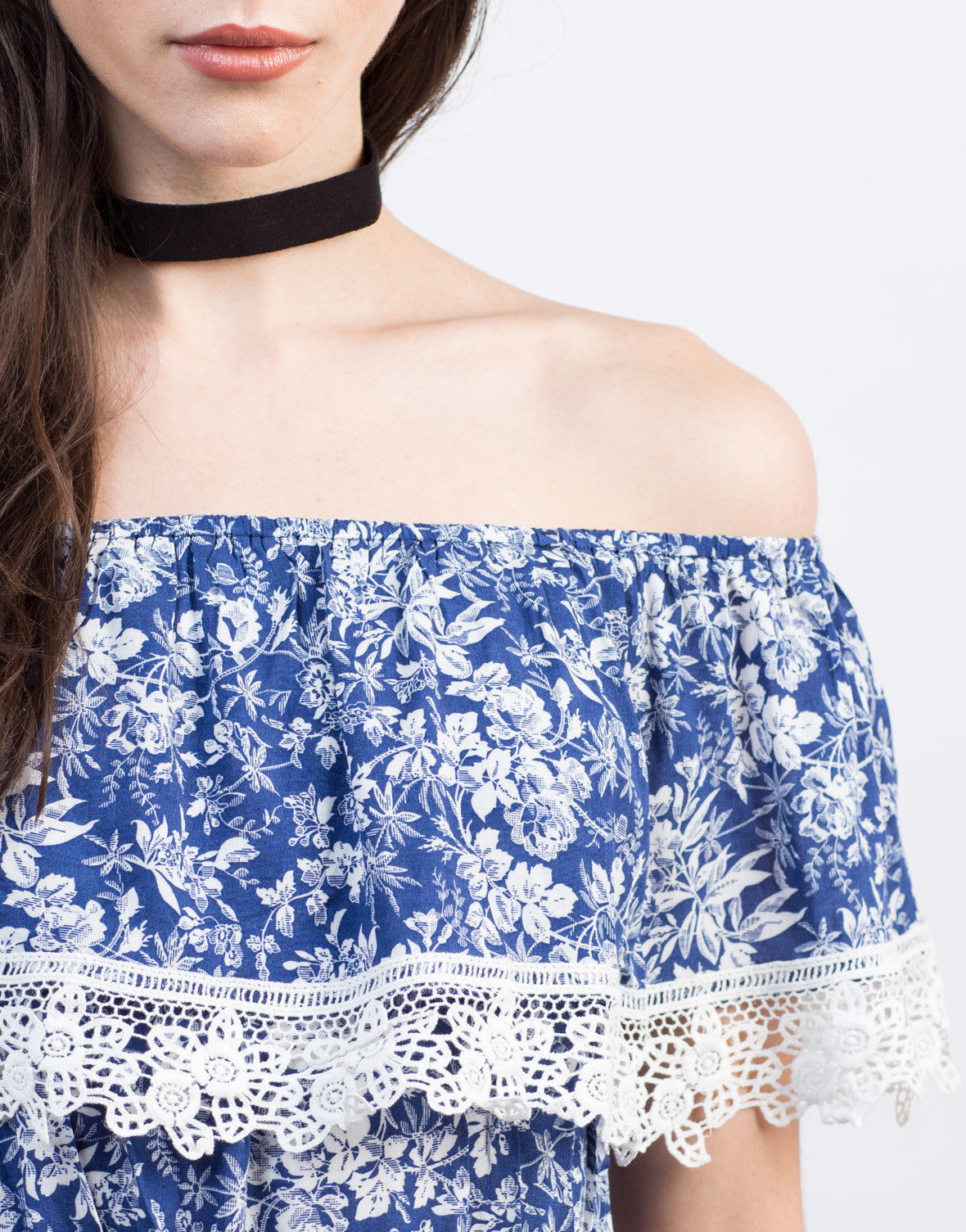 Detail of Floral Crochet Romper