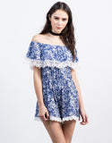 Front View of Floral Crochet Romper