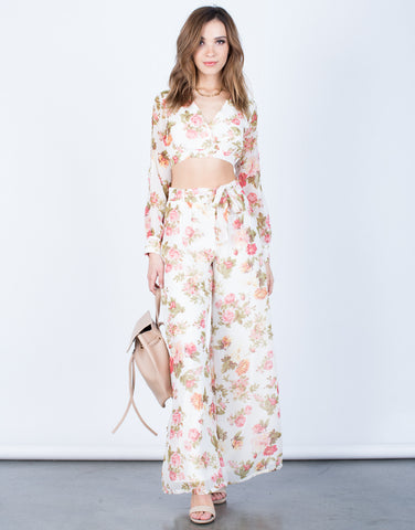 Front View of Floral Crop Top and Pants Set
