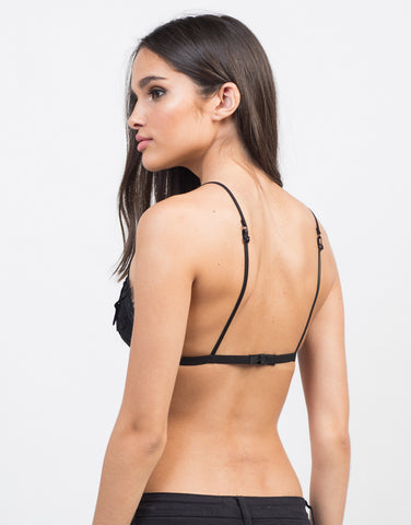 Back View of Floral Detailed Triangle Bralette