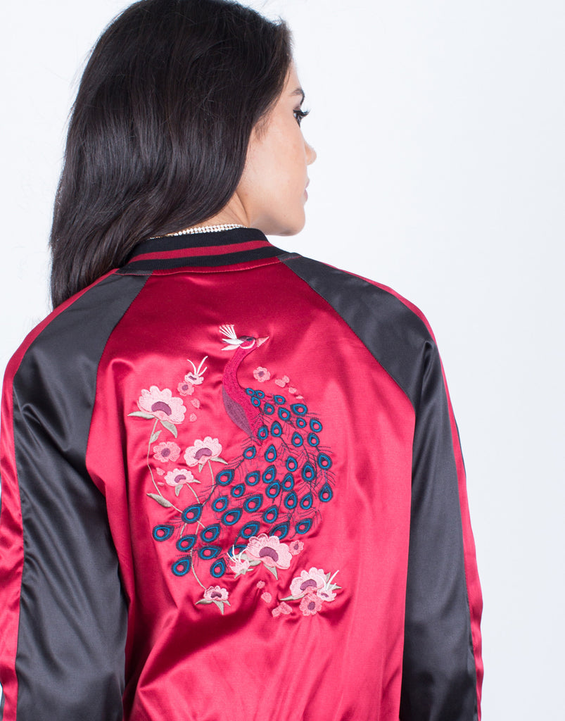 Floral Embroidered Bomber Jacket - 2020AVE