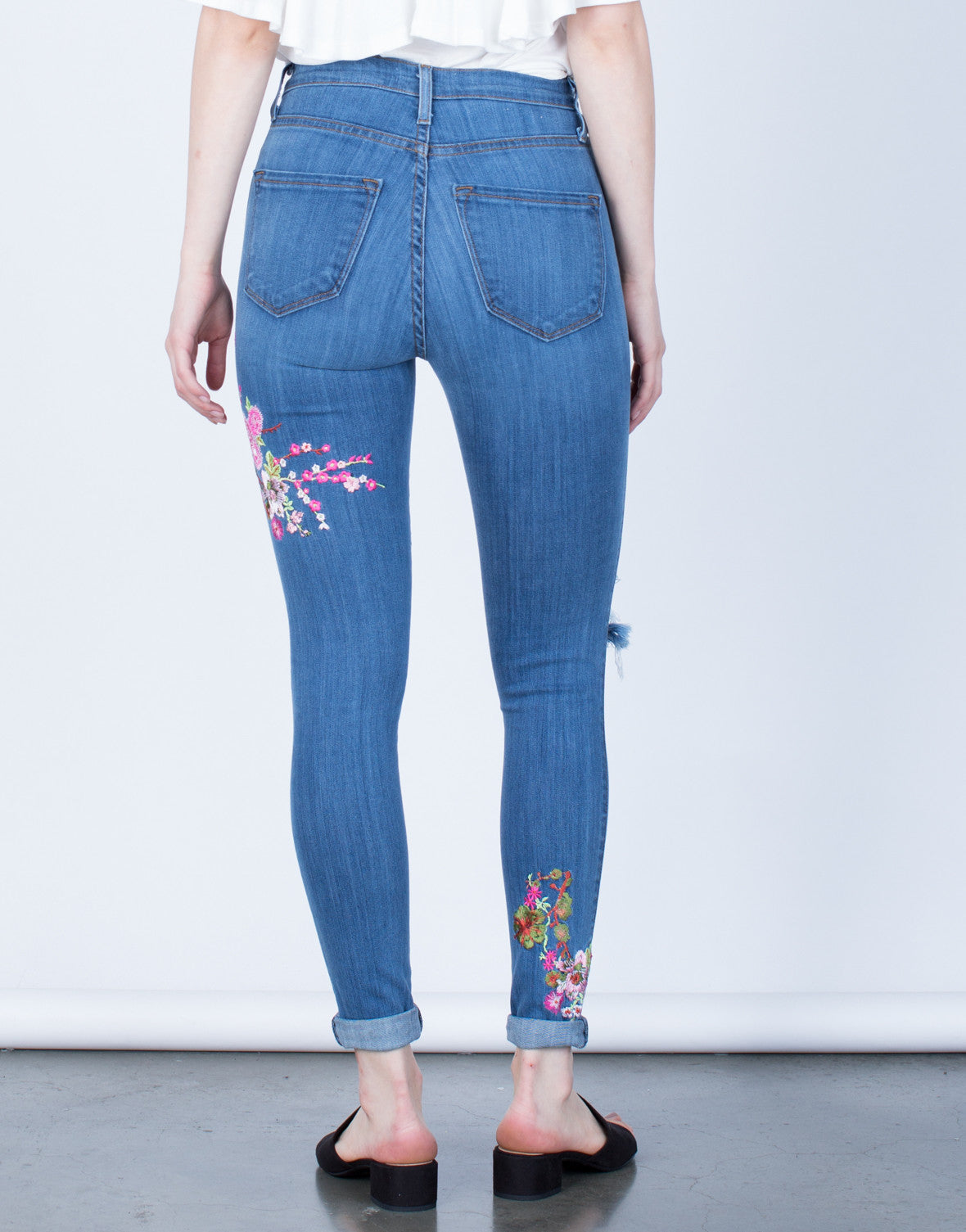 Back View of Floral Embroidered Jeans