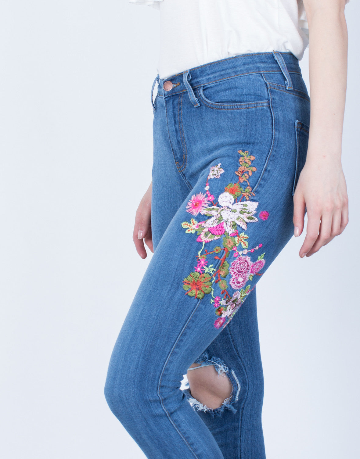 Detail of Floral Embroidered Jeans