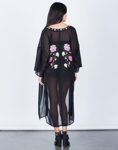 Back View of Floral Embroidered Kimono