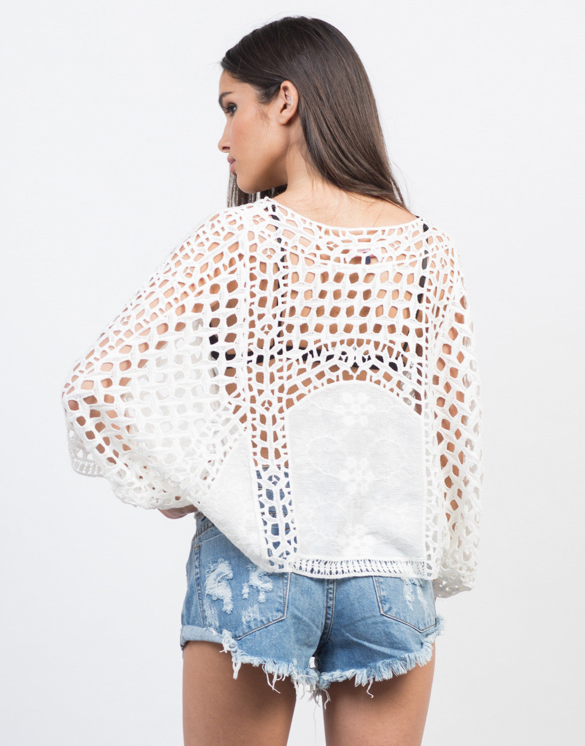 Back View of Floral Embroidered Poncho