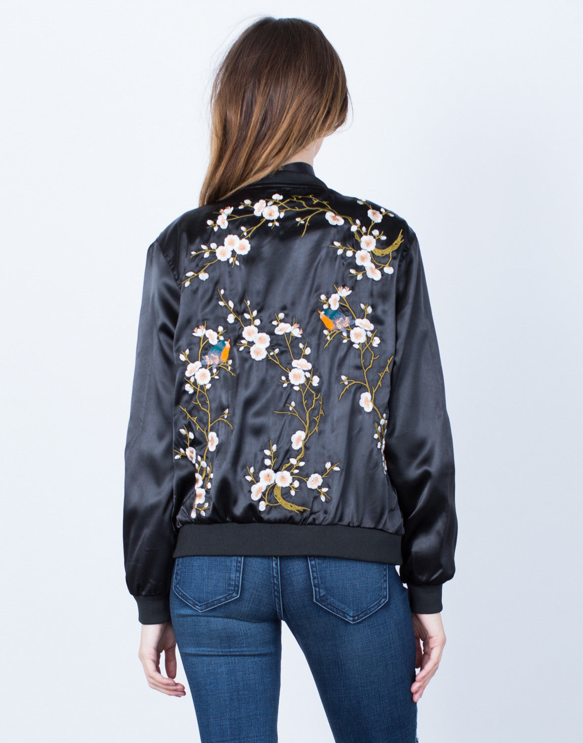 Back View of Floral Embroidered Satin Bomber Jacket