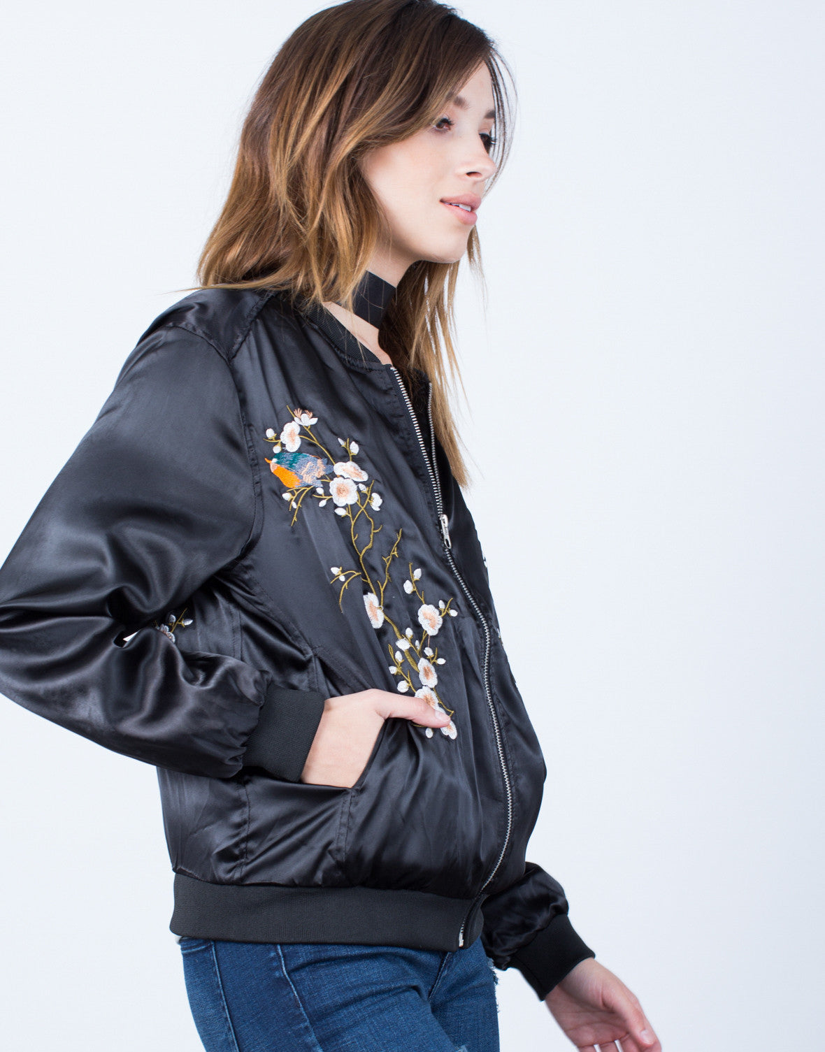Detail of Floral Embroidered Satin Bomber Jacket