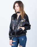 Front View of Floral Embroidered Satin Bomber Jacket