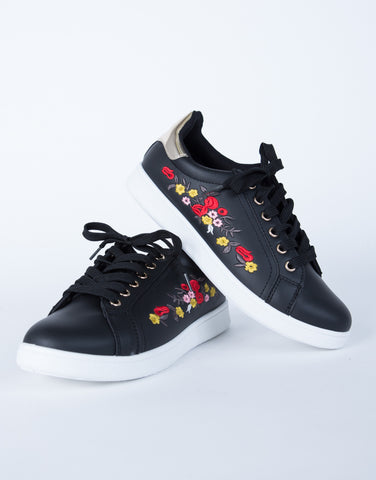 Floral Embroidered Sneakers