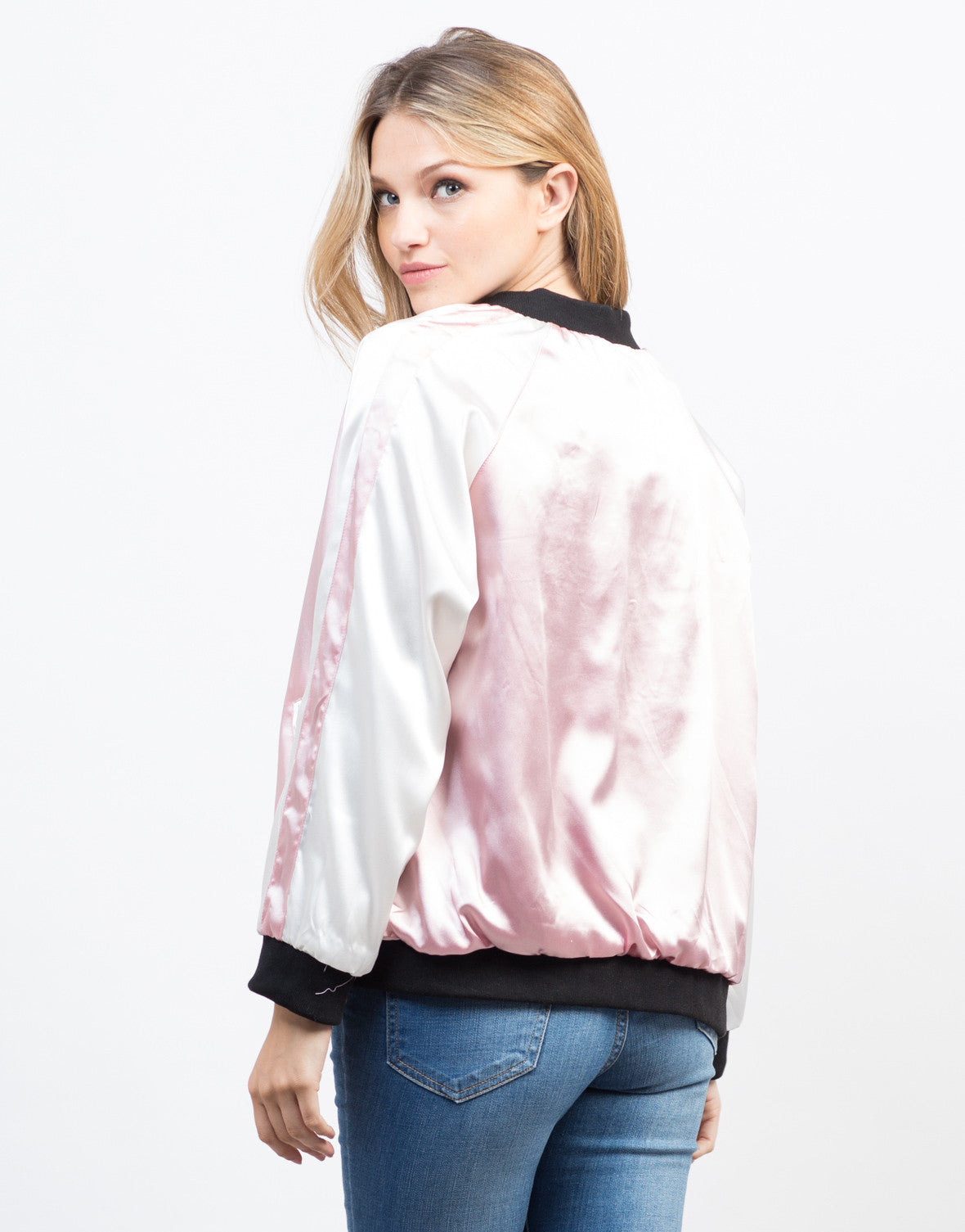 Back View of Floral Embroidery Reversible Jacket