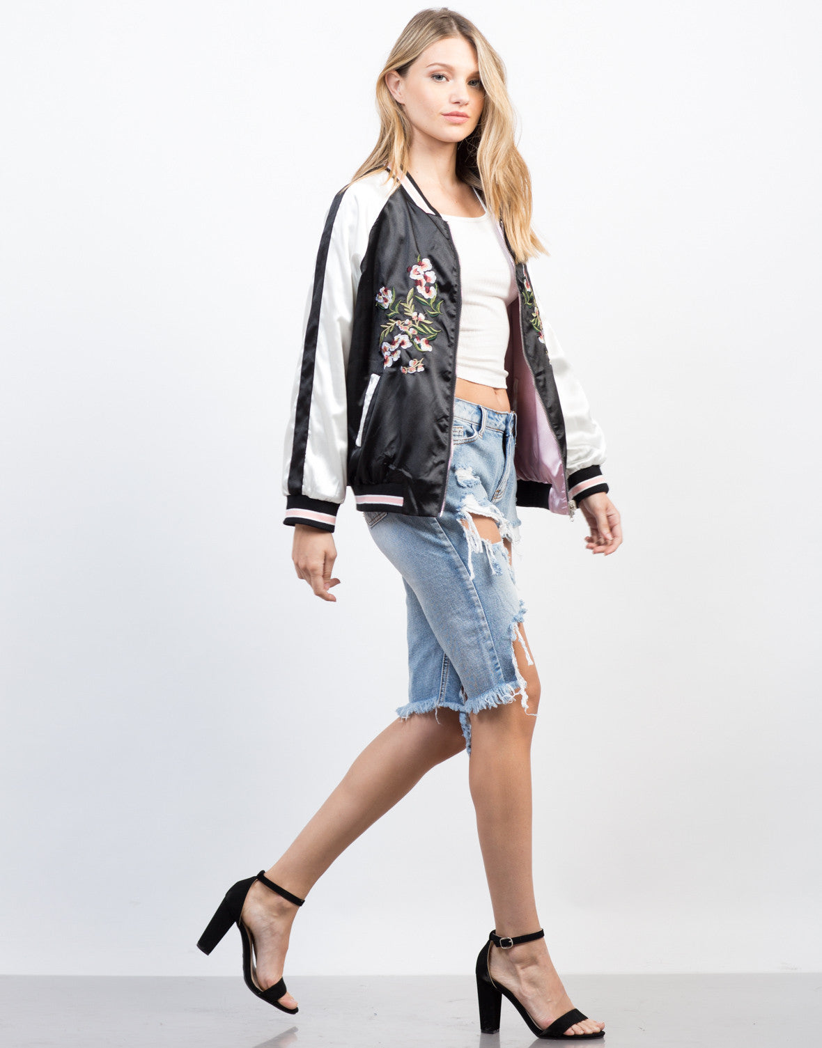 Side View of Floral Embroidery Reversible Jacket