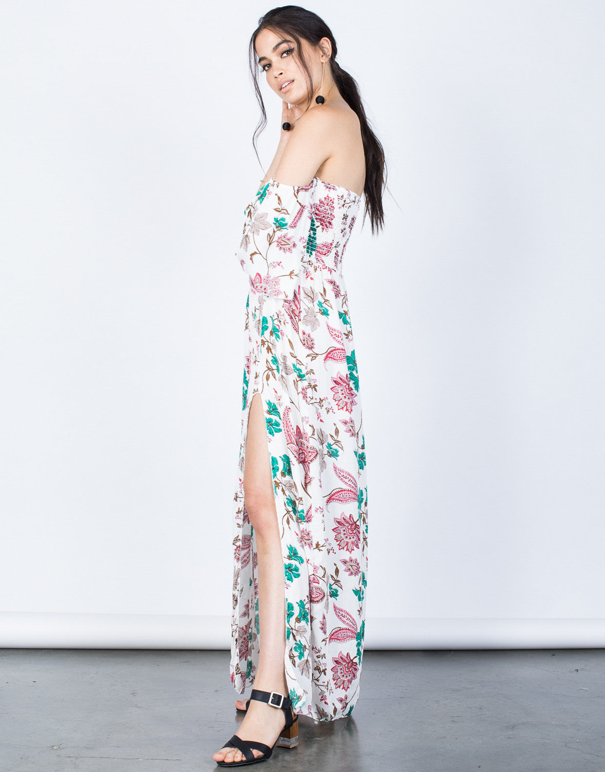 Side View of Floral for Days Dress
