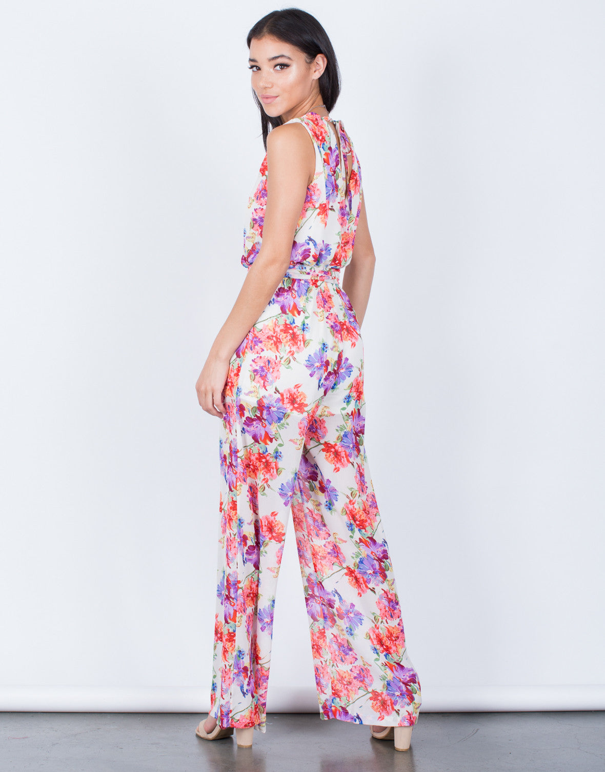 Back View of Floral Front Tie Jumpsuit