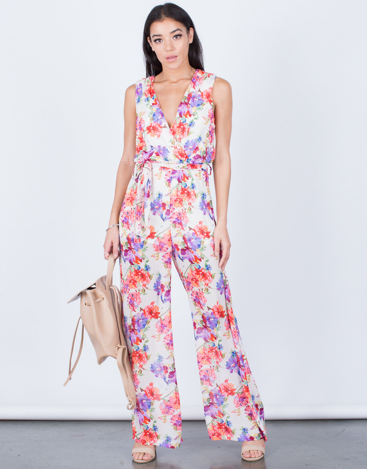 Front View of Floral Front Tie Jumpsuit