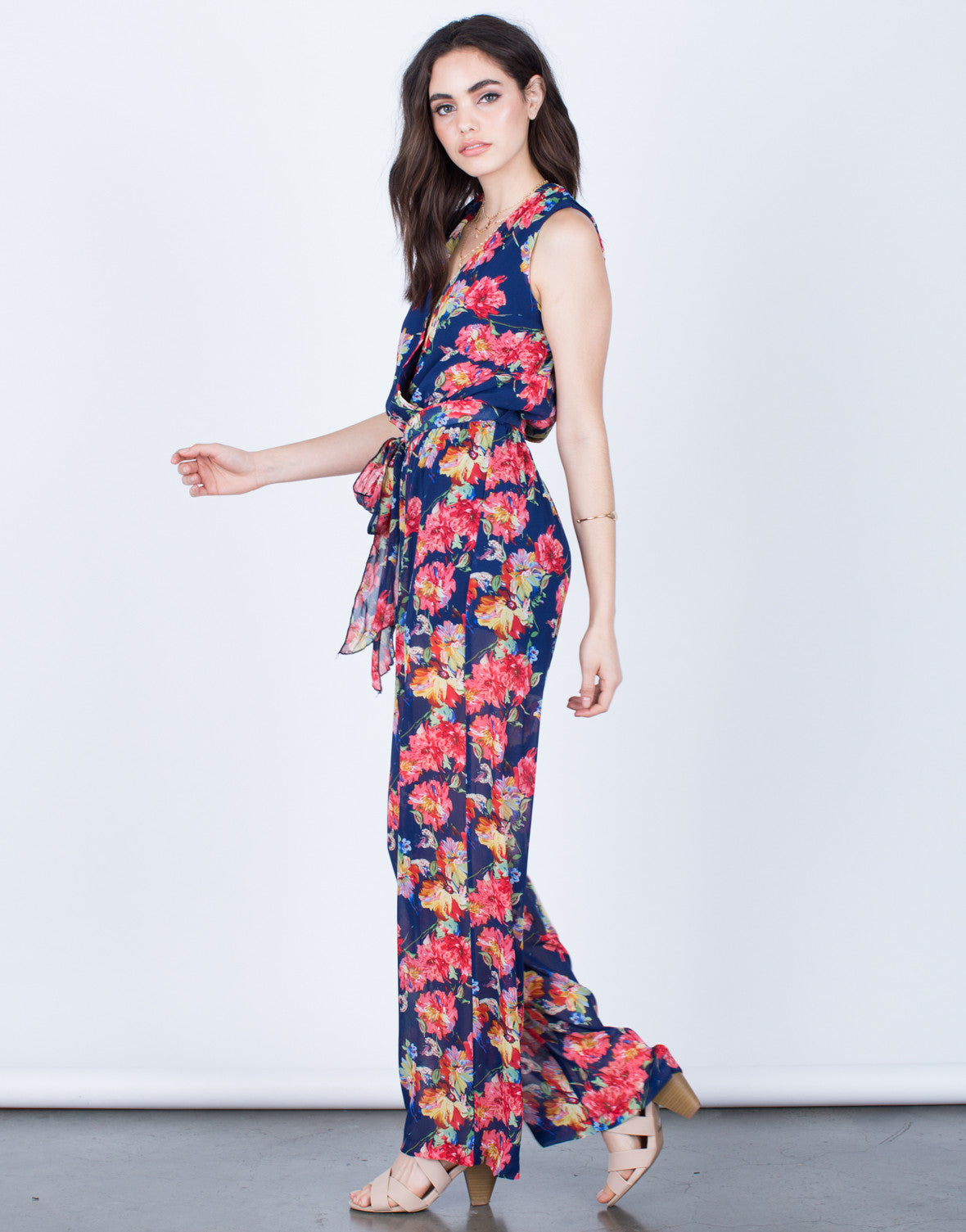 Side View of Floral Front Tie Jumpsuit