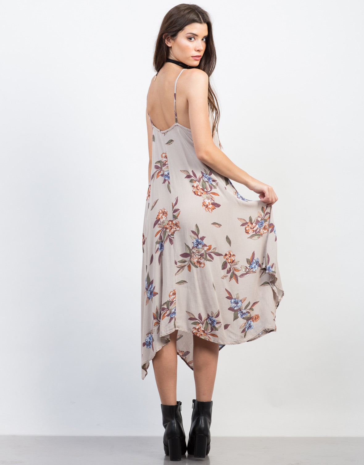 Back View of Floral Gauze Midi Dress