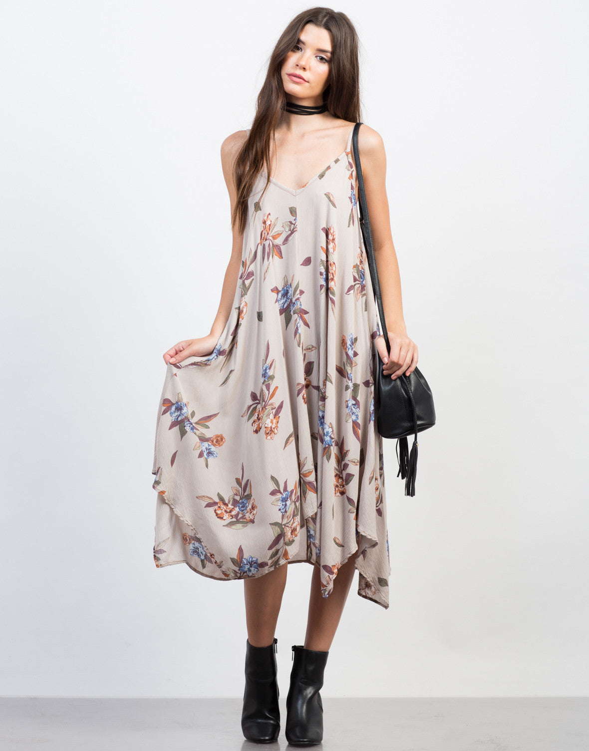 Front View of Floral Gauze Midi Dress