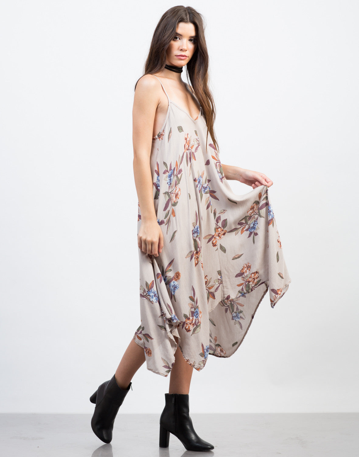 Side View of Floral Gauze Midi Dress