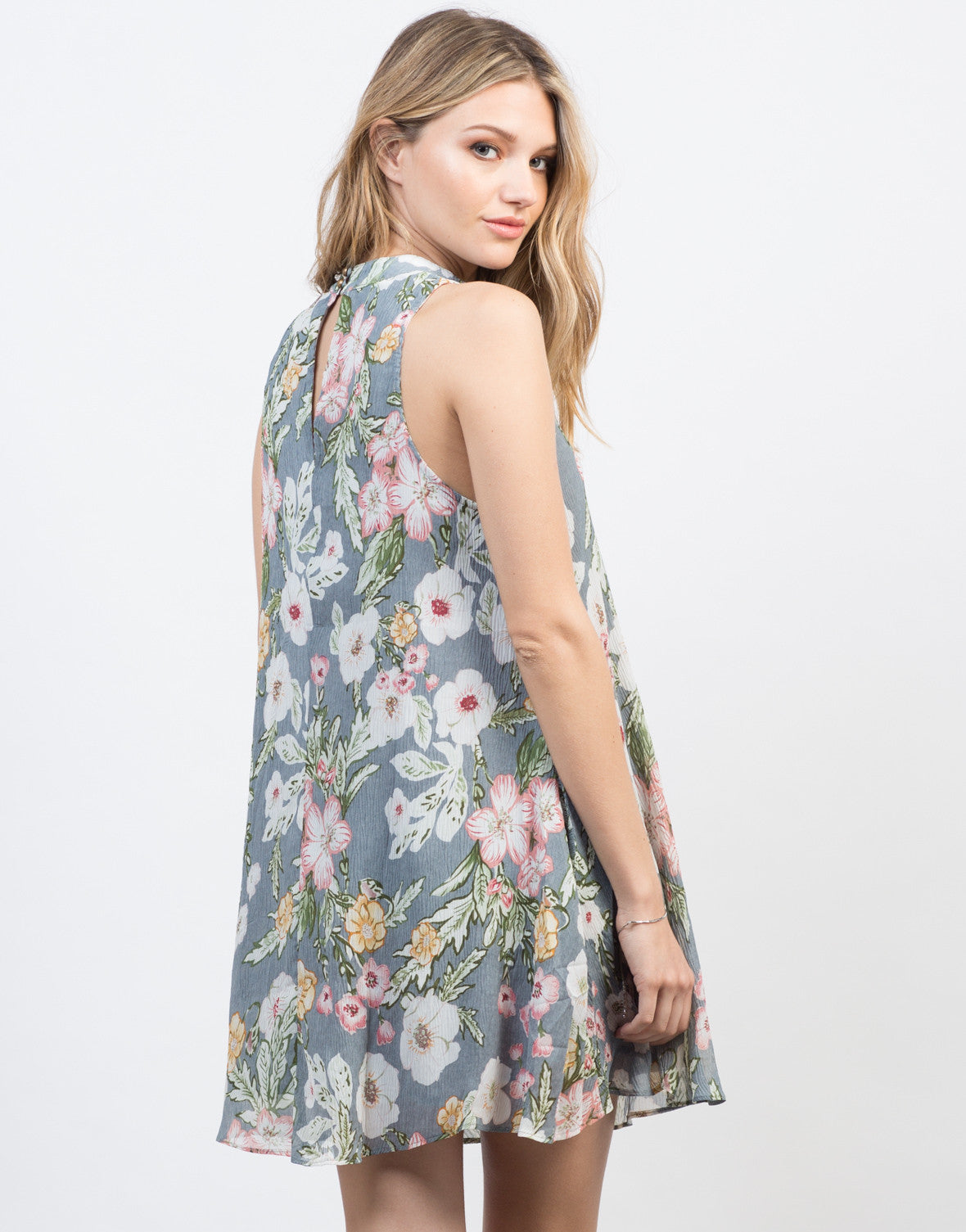 Back View of Floral Gauze Shift Dress