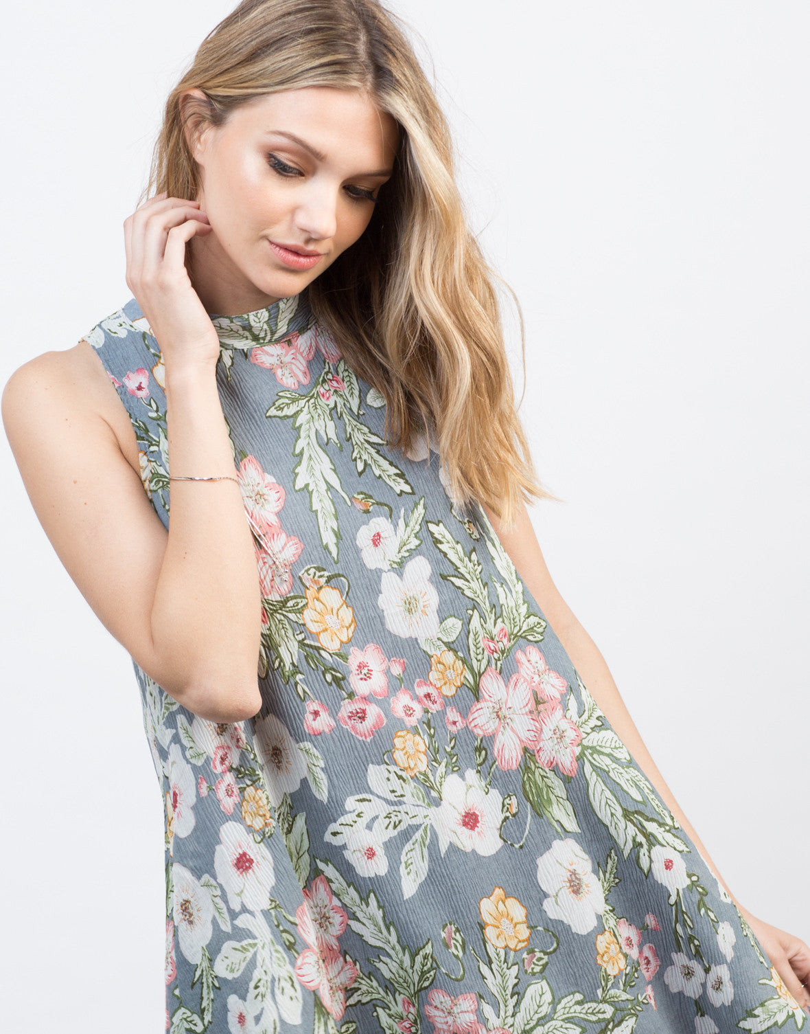 Detail of Floral Gauze Shift Dress