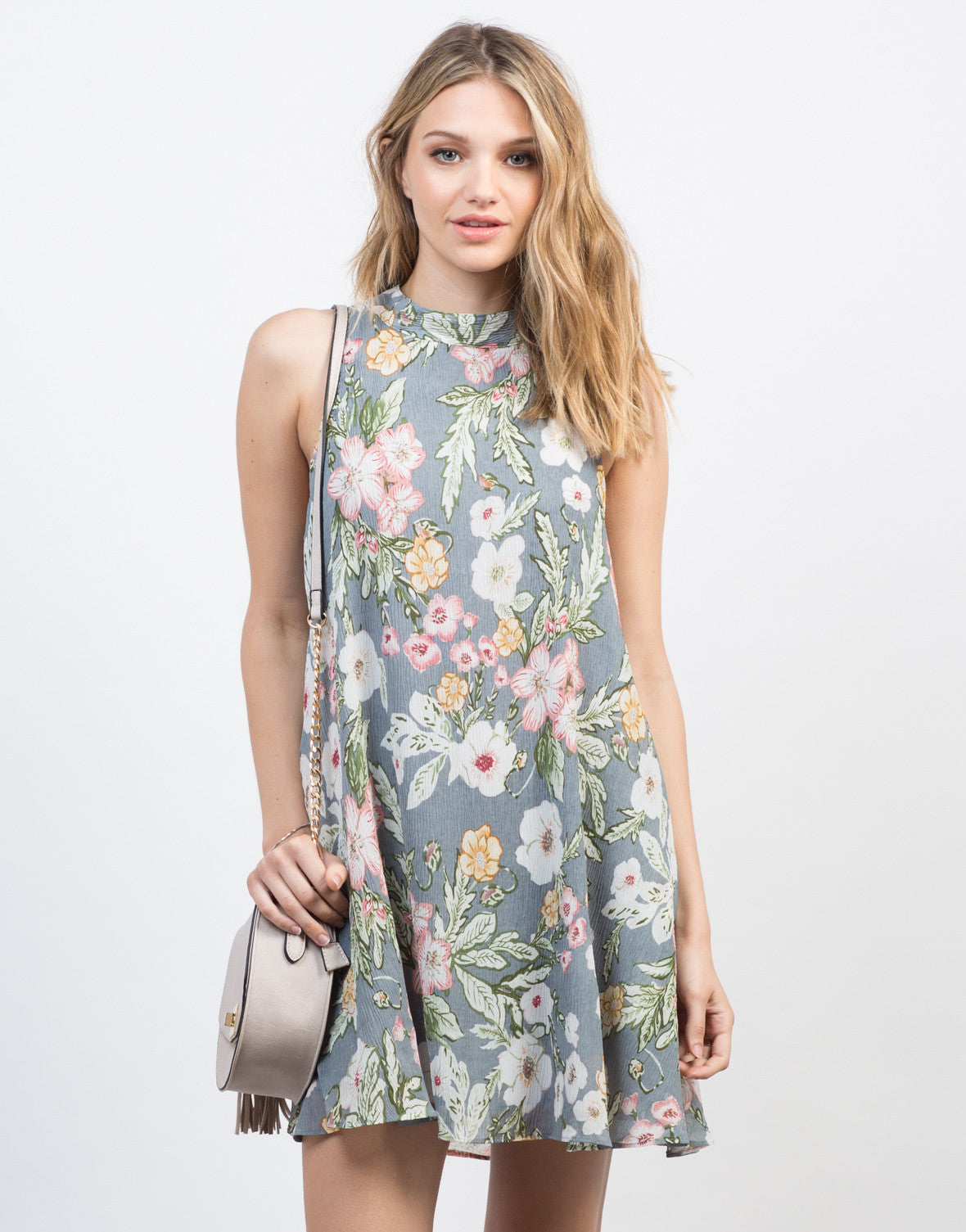 Front View of Floral Gauze Shift Dress