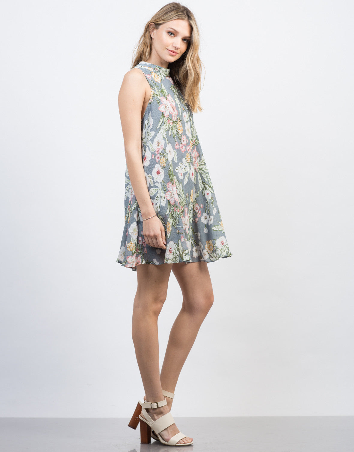Side View of Floral Gauze Shift Dress