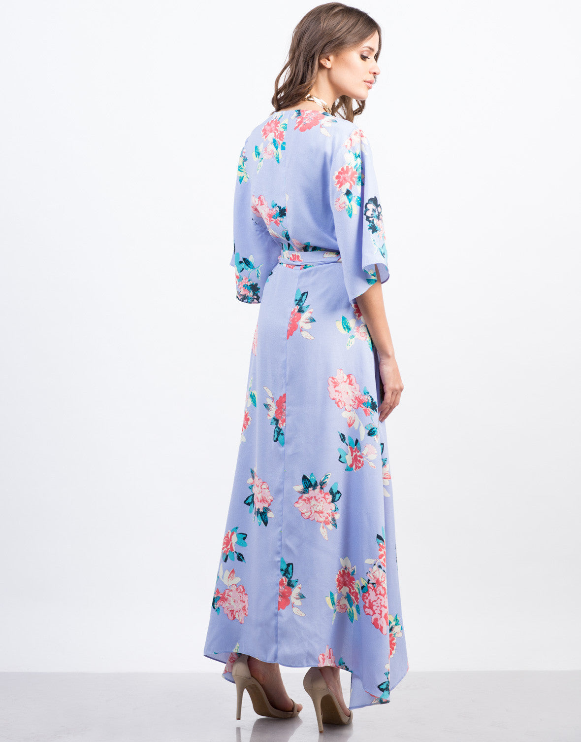 Back View of Floral Kimono Wrap Dress
