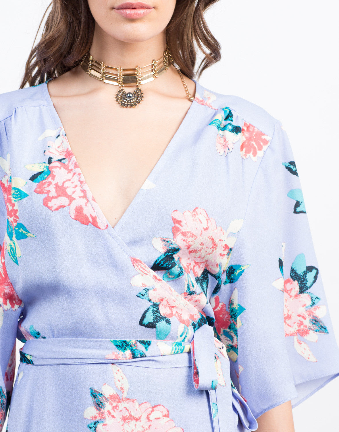 Detail of Floral Kimono Wrap Dress