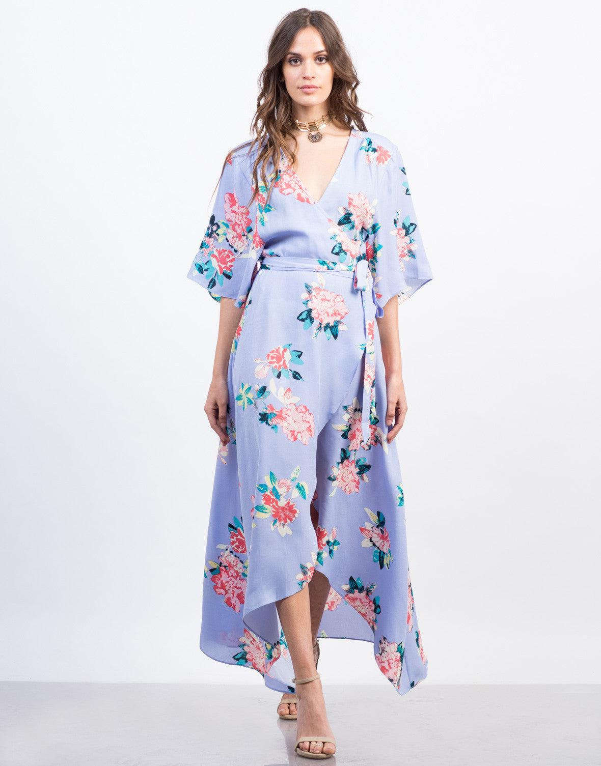 Front View of Floral Kimono Wrap Dress