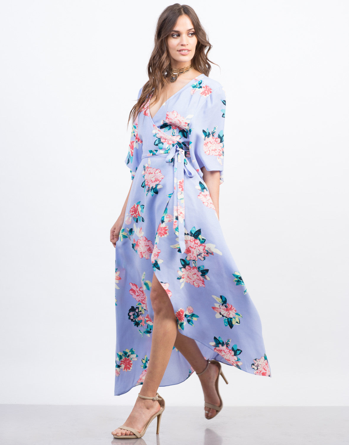 Side View of Floral Kimono Wrap Dress