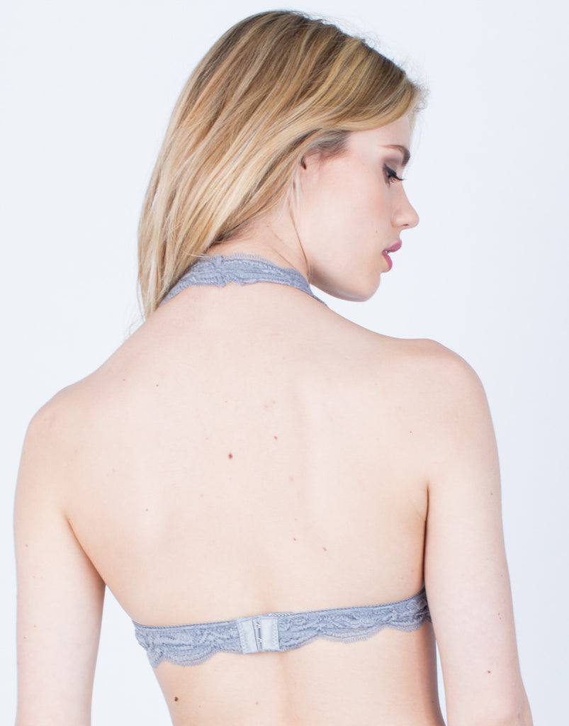 Back View of Floral Lace Halter Bralette