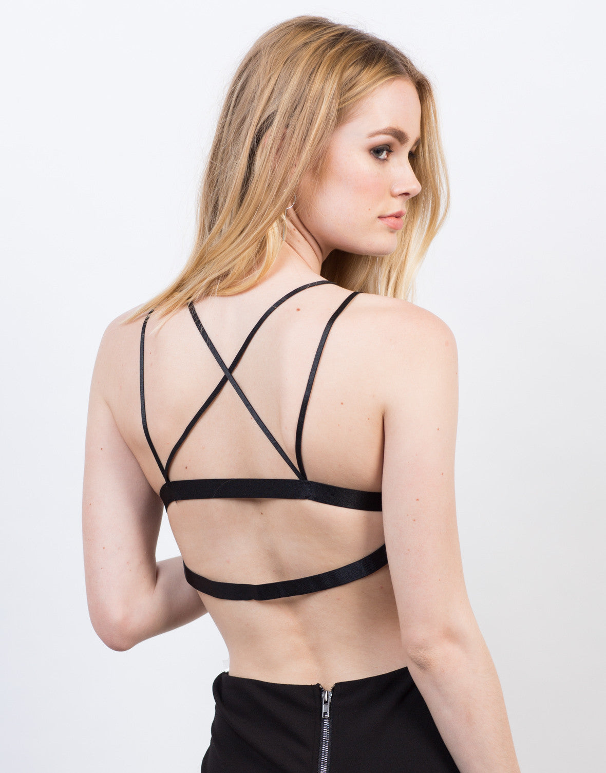 Back View of Floral Lace Strappy Bralette