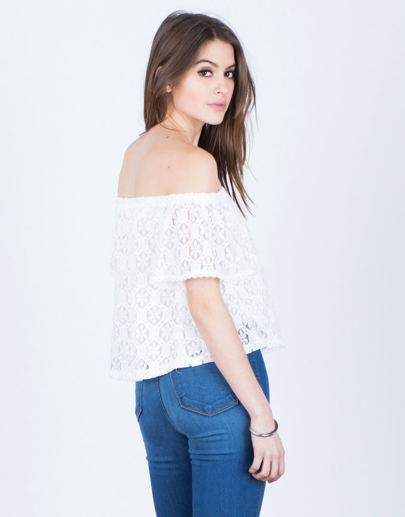 Back View of Floral Lacey Blouse