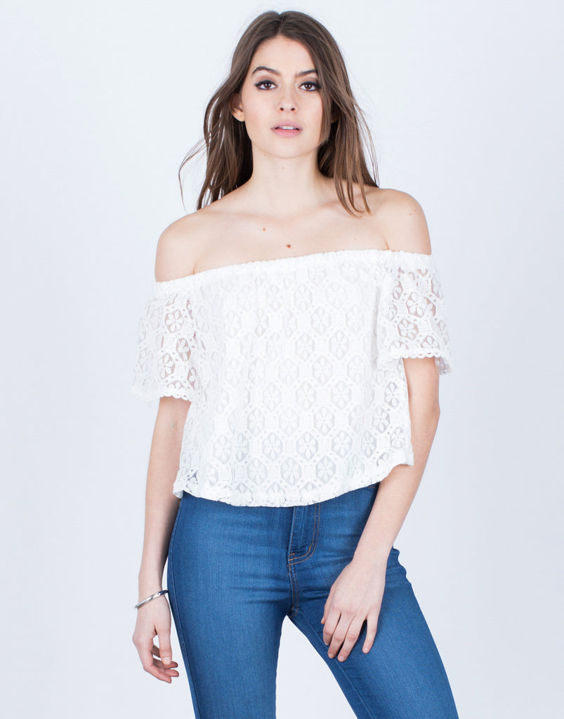 Front View of Floral Lacey Blouse