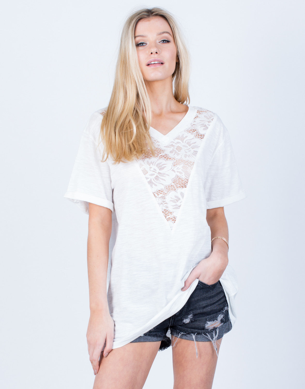 Front View of Floral Lacey Tunic
