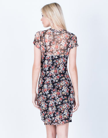 Back View of Floral Mesh Bodycon Dress