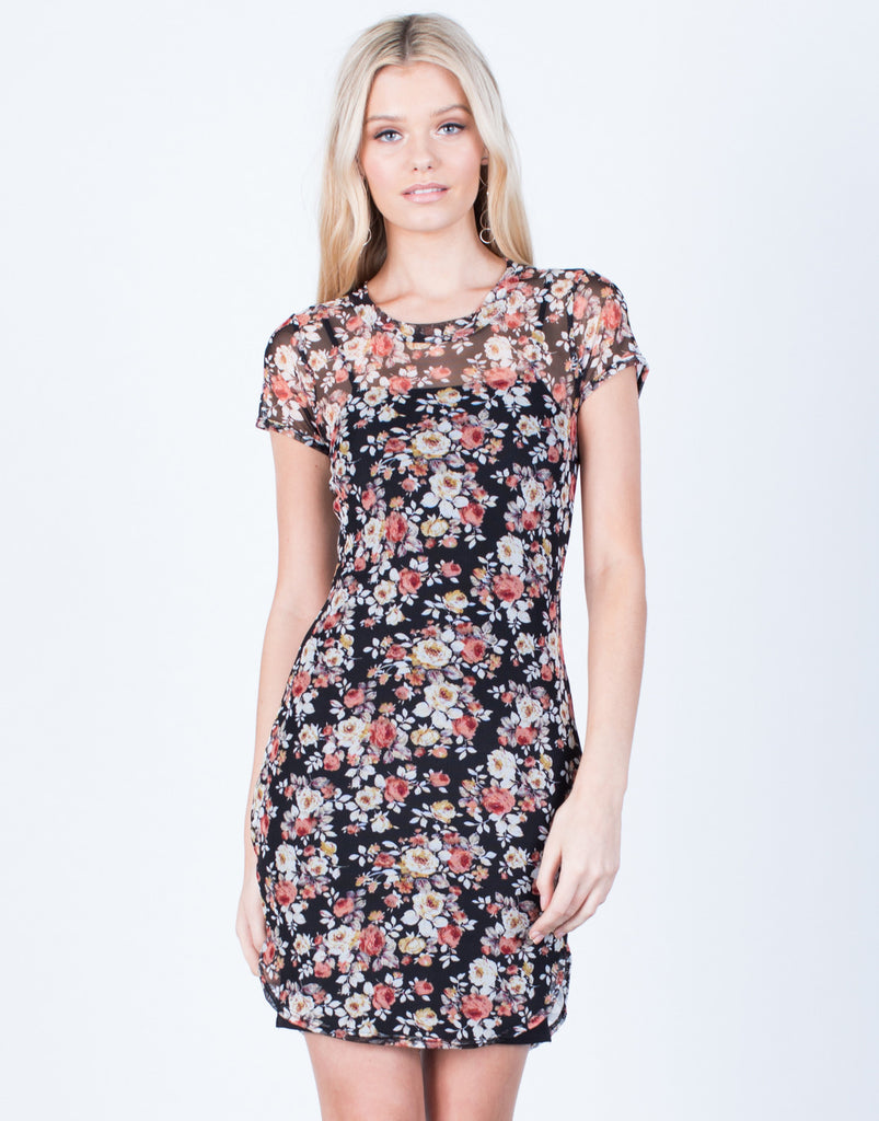 Front View of Floral Mesh Bodycon Dress