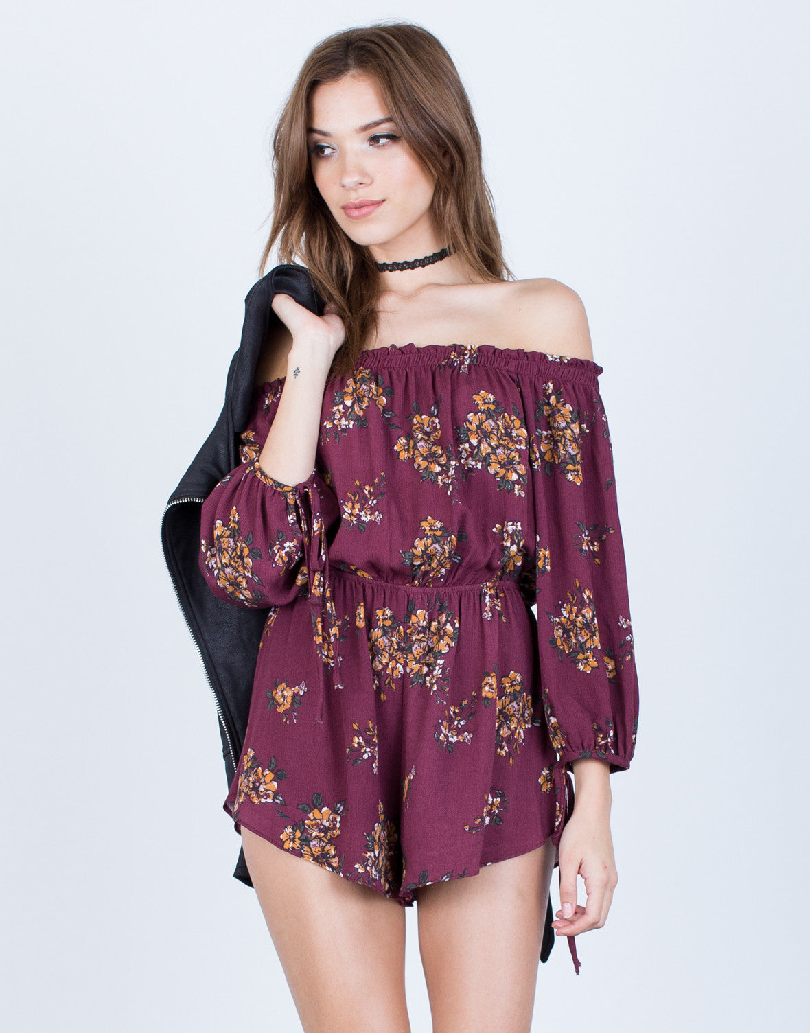 Front View of Floral Off-the-Shoulder Romper